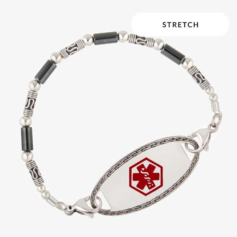 Sterling silver Bali beads and tubular hematite beaded bracelet shown on wrist