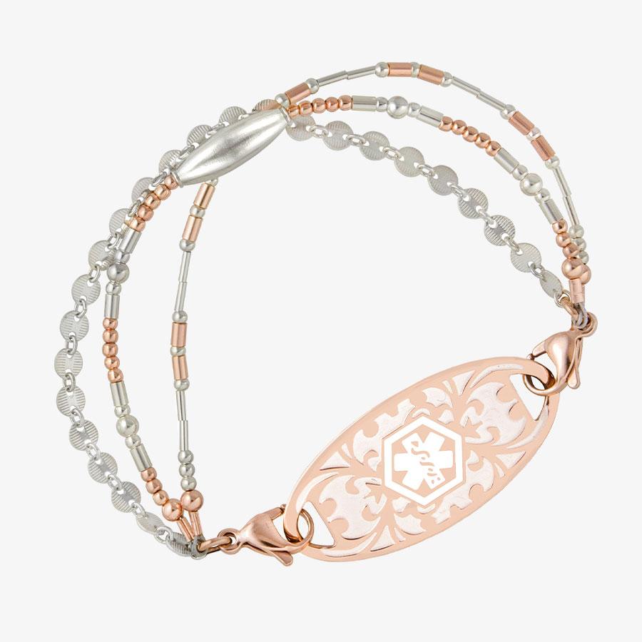 Medical alert bracelet with lavender and rose gold beads