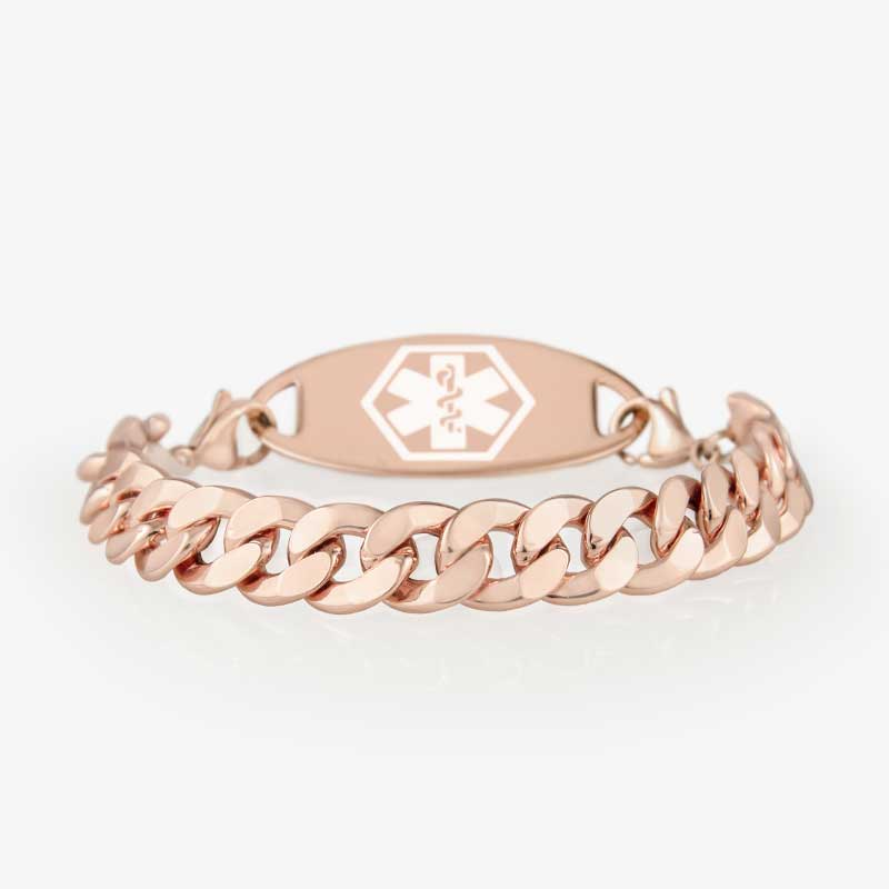 Front side of rose gold faceted sterling curb chain medical alert bracelet with medical ID tag