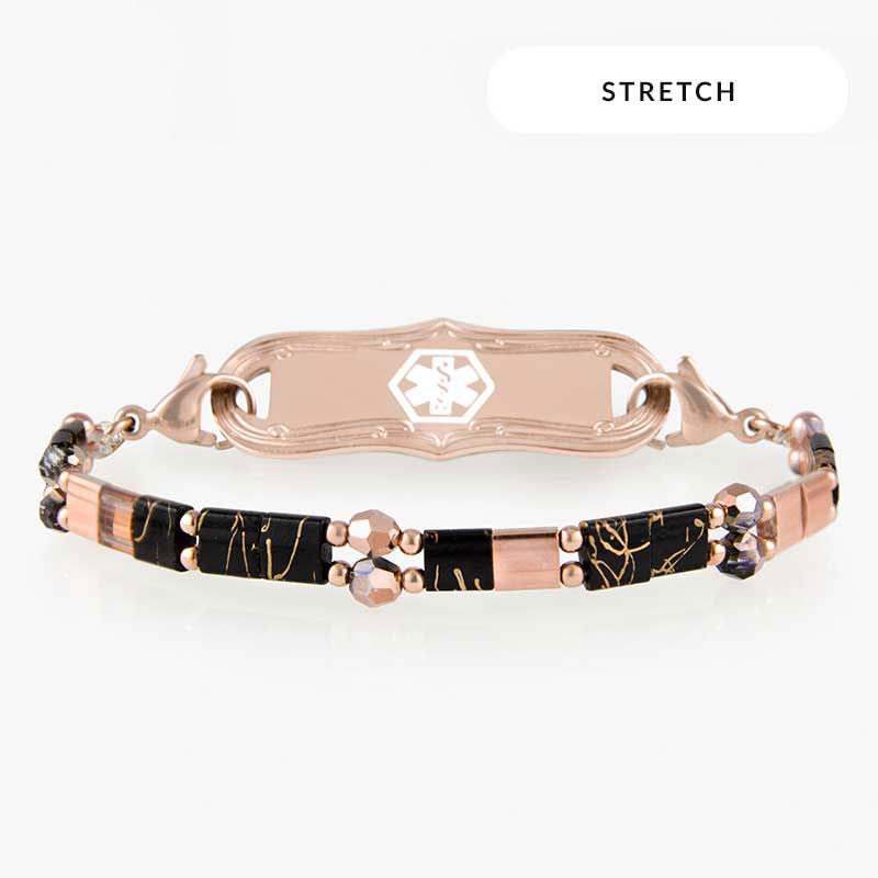 Stretchy medical alert bracelet in rose gold with black and crystal beads