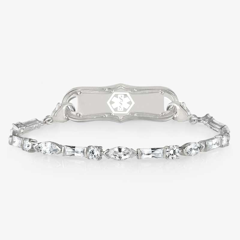 Art deco styled sterling silver and CZ bracelet with lobster clasps make it easy to attach to an ID tag.