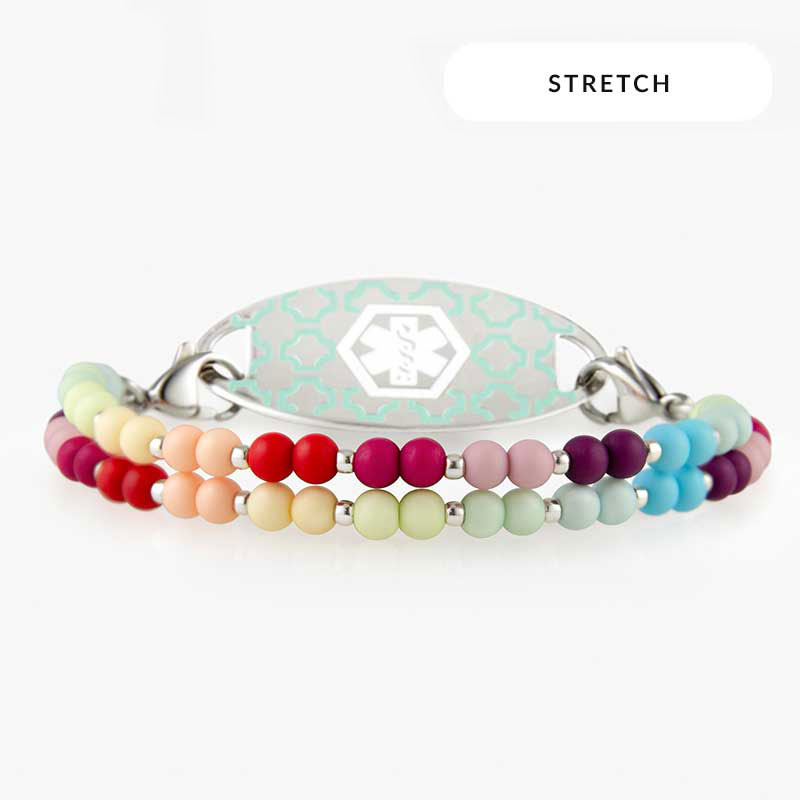 Multicolor medical alert bracelet with colorful beaded components