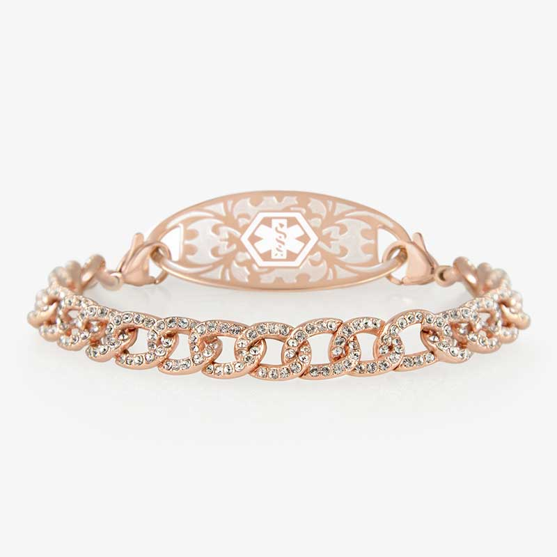 Rose gold chain medical ID bracelet in curb chain style with cubic zirconia and decorative medical ID tag