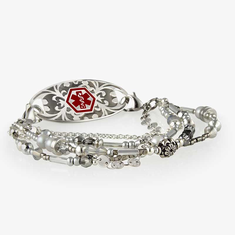 Medical alert bracelet with multiple strands of sterling silver and filled beads